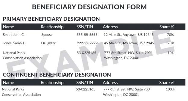 Sample Beneficiary Designation Form